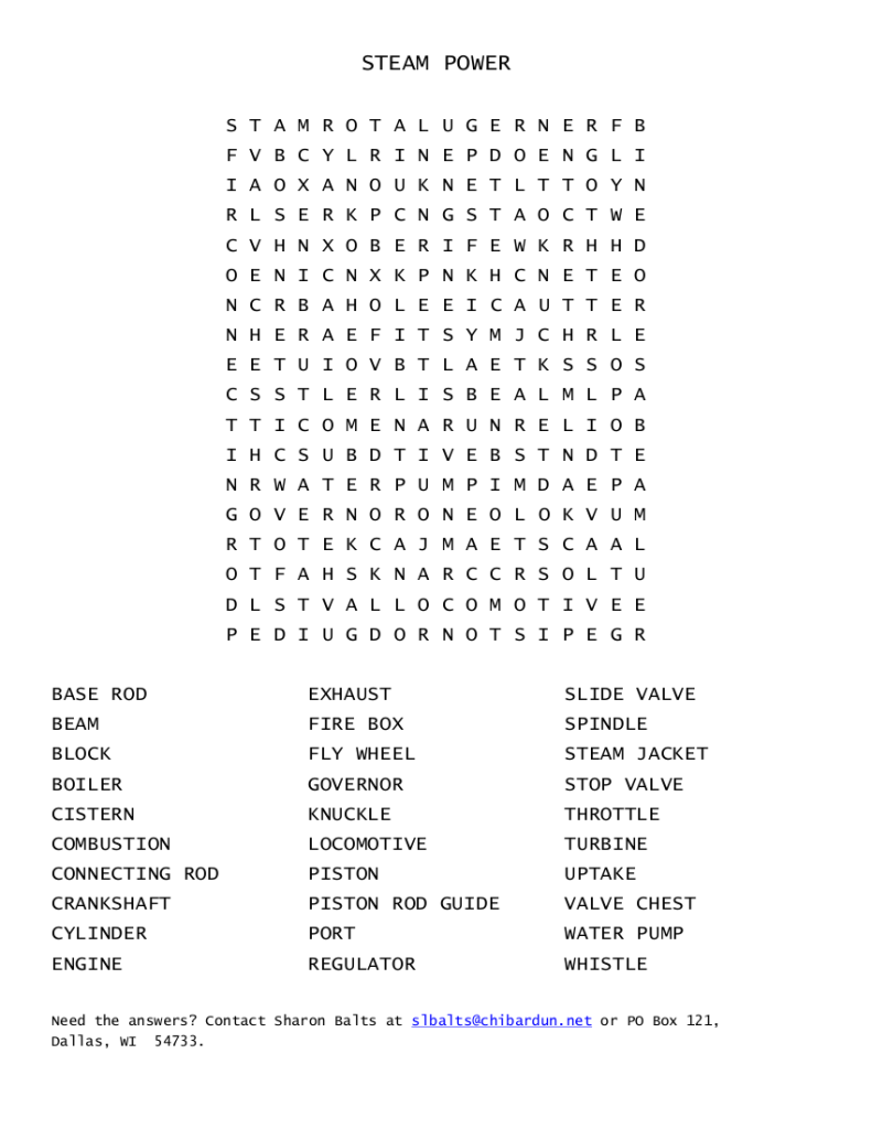 STEAM ENGINE WORD SEARCH (FREE PUZZLE DOWNLOAD, PDF)